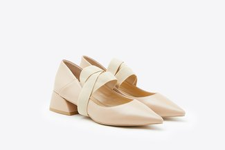 7018-16 Almond Crossover Strap Pointy Low Leather Pumps