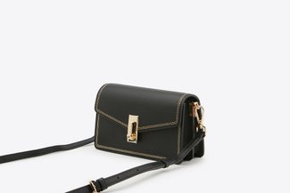 87188-1 Black Envelope Cross-Body Mini Leather Bag