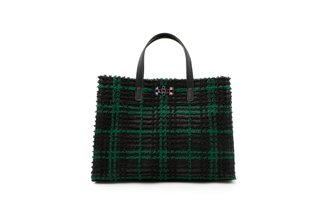 1835 Green Fleece Plaid Structured Bag