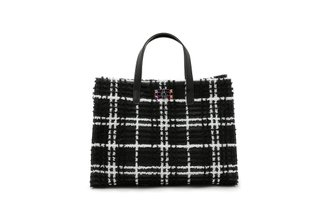 1835 Black Fleece Plaid Structured Bag