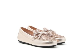 1960-1 Champagne Glittered Bow Leather Loafers