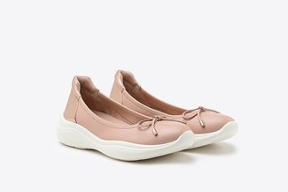 3501-1 Pink Athleisure-inspired Ballerina Leather Flats