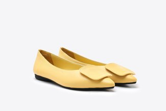 6315-1 Yellow Square Embellished Pointy Toe Leather Flats