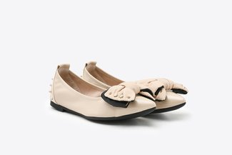 833-35 Almond Oversized Bow-embellshed Pointy Leather Flats