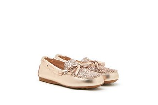 BB1960-1 Champagne Kids Glittered Bow Leather Loafers
