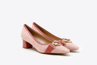 1902-8 Plum Pastel Tweed Classic Round Toe Chunky Leather Pumps