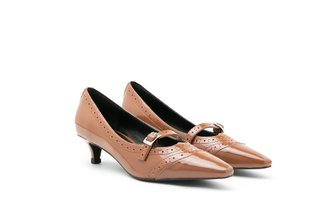 272-1 Brown Oxford Brogue Strapped Patent Leather Low Heels