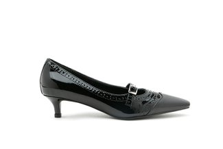272-1 Black Oxford Brogue Strapped Patent Leather Low Heels