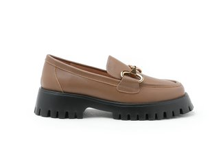 3562-1 Almond Metal Buckle Patent Leather Loafers