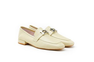 5108-13 Yellow Buckled Textured Square Toe Leather Loafers