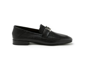 5108-13 Black Buckled Textured Square Toe Leather Loafers