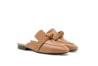 6936-58 Brown Eyelet Strap Knotted Leather Mules