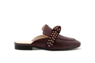 6936-58 Wine Eyelet Strap Knotted Leather Mules