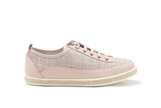 7606-13 Pink Tweed Lace-Up Leather Espadrille Sneakers