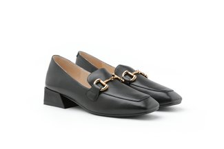 9175-1 Black Classic Metal Buckle Leather Loafers