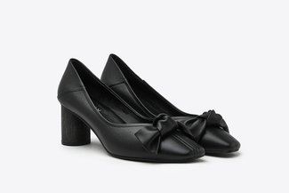 LT1928-10 Black Knotted Ribbon Leather Square Toe Pumps