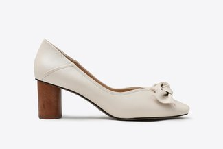 LT1928-10 Beige Knotted Ribbon Leather Square Toe Pumps