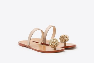 YD231-52 Almond Crystal Bloom Toe Strap-On Leather Slides