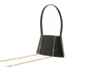 10935 Black Structured Retro Slim Handbag
