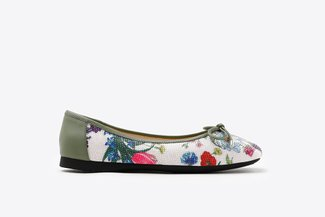 1319-6 Green Floral Bow Square Toe Leather Flats