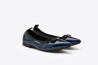 2882-3 Blue Bow Patent Pointed Flats