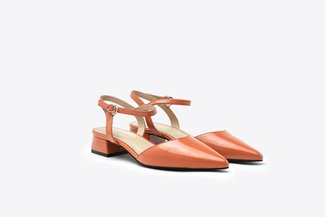 6200-1 Orange Glossy Patent Sling Back Pointy Low Pumps