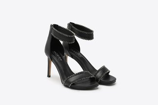 8907-10 Black Diamante Embellished Wrap Around Leather High Heel Sandals