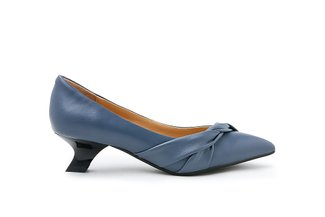 9287-1 Grey Draped Detail Leather Low Heels