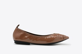 9550-1 Taupe Crinkled Pointy Leather Flats