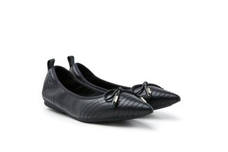 9550-2 Black Ribbon Tie Leather Pointed Flats