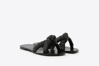 YD638-3 Black Knotted Diamante Embellished Cross Strap Slides