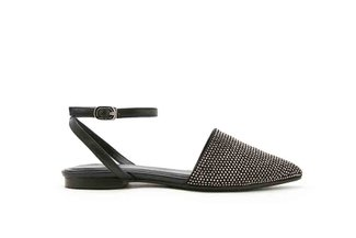 013-14 Black Diamante Embellished Ankle Flats
