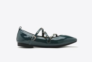 1038-1 Blue Gold Studded Strappy Square Toe Leather Ballet Flats