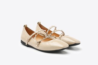 1038-1 Almond Gold Studded Strappy Square Toe Leather Ballet Flats