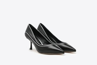2023-1 Black Duo Stitched Leather Pointy High Heels