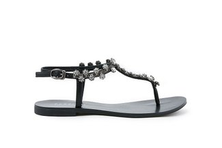 2088-13 Black Diamante Flower T-bar Sandals