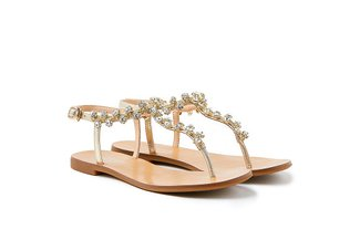 2088-13 Gold Diamante Flower T-bar Sandals