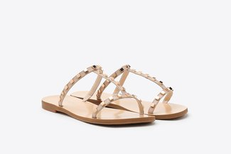 3088-108 Almond Gold Square Studs Caged T-bar Leather Slides
