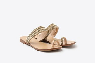 3088-59 Gold Diamante Stud Toe Strappy Slide Sandals