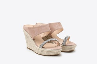 3907-10 Nude Diamante Embellished Espadrille Leather Wedges