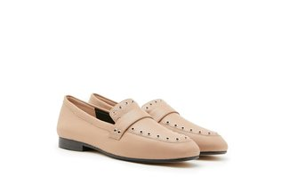 7399-23 Apricot Eyelet Embellished Leather Round Toe Loafers