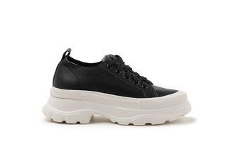 A127-1 Black Slip-On Platform Leather Sneakers