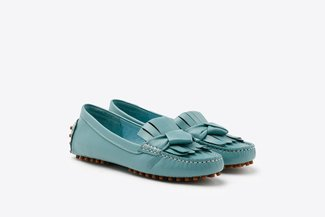 P6-02 Blue Fringe Leather Loafers