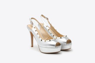 2687-2 Silver Studded Strap Peep Toe Leather Slingback High Heel Platform Sandals