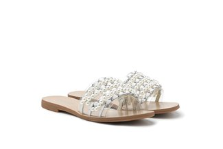 4088-12 White Pearly Chain Embellished Slides