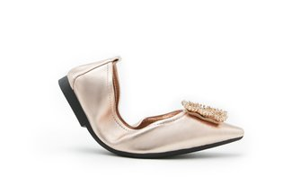 608-2 Champagne Dazzling Crystal Buckle Leather Flats