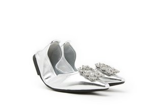 608-2 Silver Dazzling Crystal Buckle Leather Flats