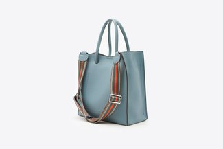 6175 Blue Boxy Structured Tote Bag