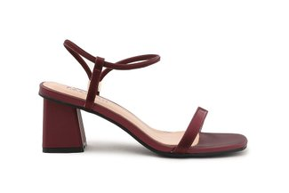 6253A-3 Wine Classic Strappy Block Heels