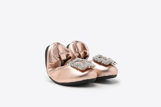 BB370-1 Champagne Kids Crystal Buckle Foldable Leather Flats